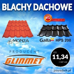 Blachy dachowe - producent GLINMET. Profile, rury.